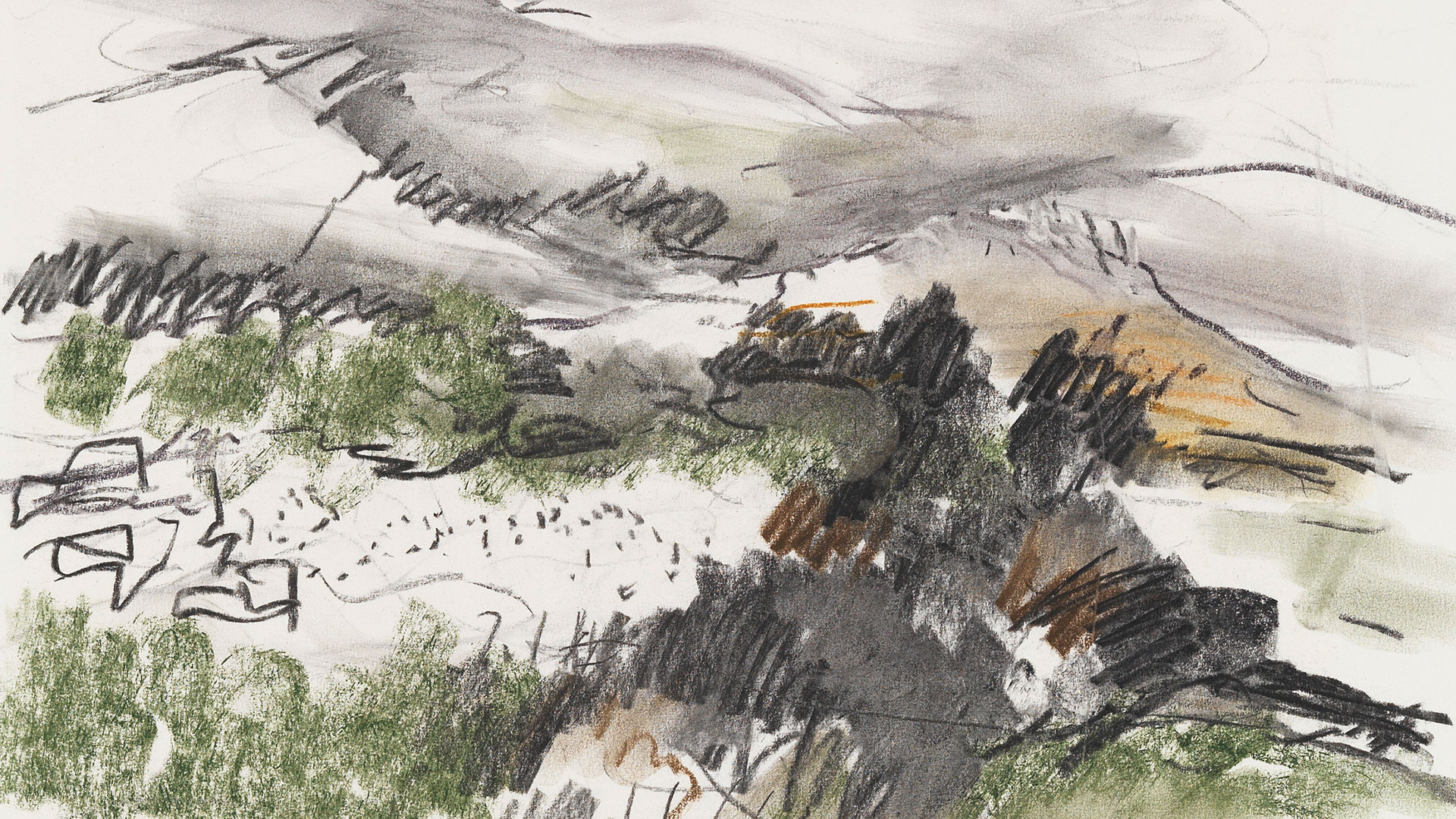 אנה טיכו, מתווה צבעוני, שנות ה-70 פחם ופסטל על נייר