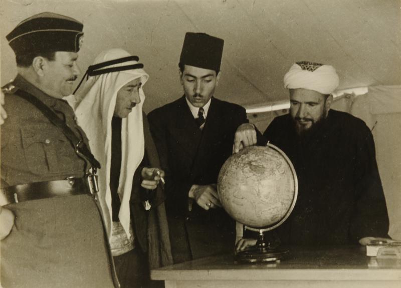From Right: Al Mullah, Secretary of Emir Abdullah, Syrian Poet Fakri Bey, Officer of the Arab Legion