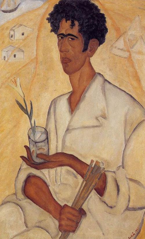 ראובן רובין, ישראלי (יליד רומניה), 1974-1893 דיוקן עצמי עם פרח, 1923 צבעי-שמן על בד מוזיאון בית ראובן, תל-אביב