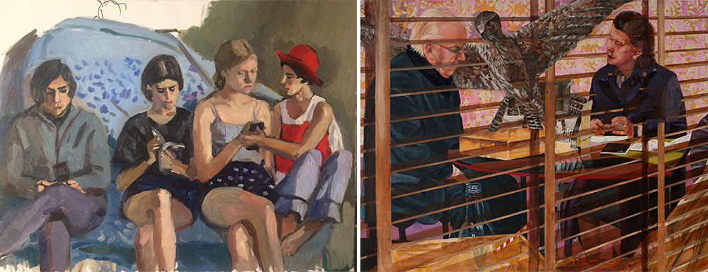 Right: Ella Amitay Sadovsky, Forward, 2011, Left: Natalia Zourabova, Summer Holiday, 2017